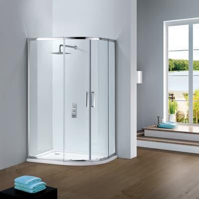 Box doccia semicircolare scorrevole Slimline 80 x 90 cm, H 195 cm in vetro temprato, spessore 6 mm trasparente argento