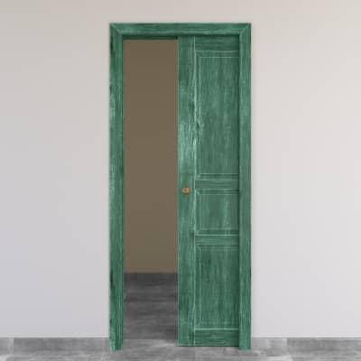 Porta scorrevole a scomparsa Old Town verde sbiancato L 80 x H 210 cm reversibile