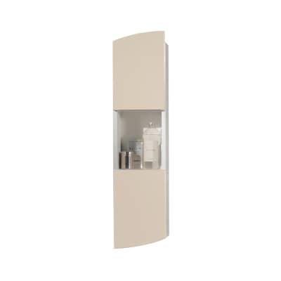 Pensile Soft 2 ante L 24 x P 18 x H 100 cm struttura lucido bianco e frontali tortora laccato