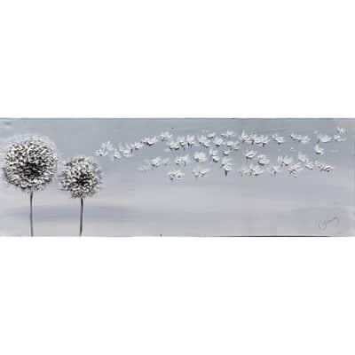 Quadro dipinto a mano Soffioni 90x30 cm