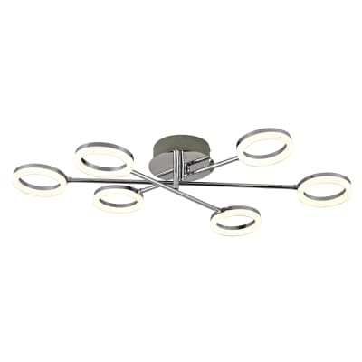 Plafoniera moderno Iring LED integrato grigio, in metallo,  D. 76 cm 76x12.5 cm, 6  luci INSPIRE