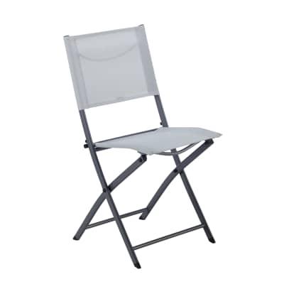 Sedia da giardino senza cuscino pieghevole in acciaio Emys NATERIAL colore grigio chiaro