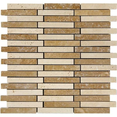 Mosaico Travertino Noce H 30 x L 30 cm noce
