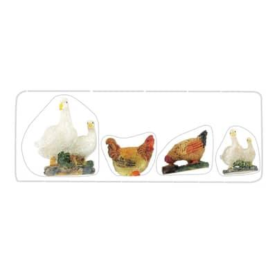 Figura decorativa in resina 4 pezziH 4 cm