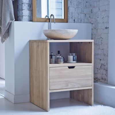 Mobile da bagno sotto lavabo L 60 x P 50 x H 78 cm in teak beige