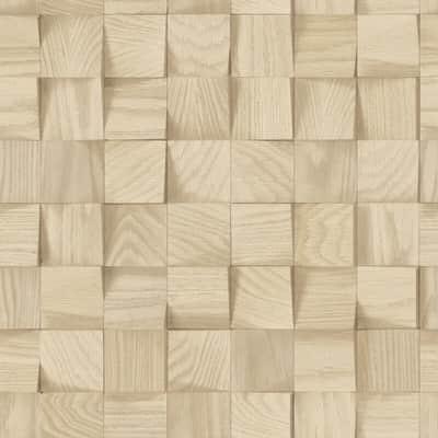 Carta da parati Cubi legno beige