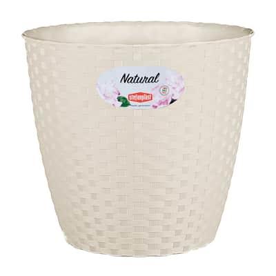 Vaso Natural STEFANPLAST in plastica colore travertino H 26.5 cm, Ø 29 cm