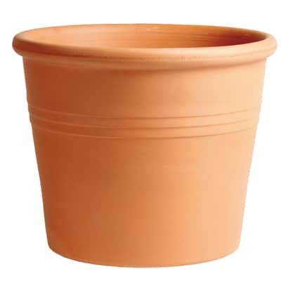 Vaso Cilindro rigato in terracotta colore cotto H 23 cm, Ø 28 cm
