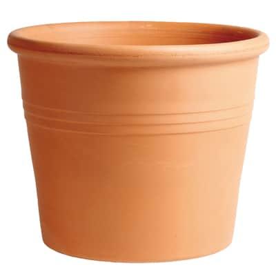 Vaso Cilindro rigato in terracotta colore cotto H 27.5 cm, Ø 33 cm