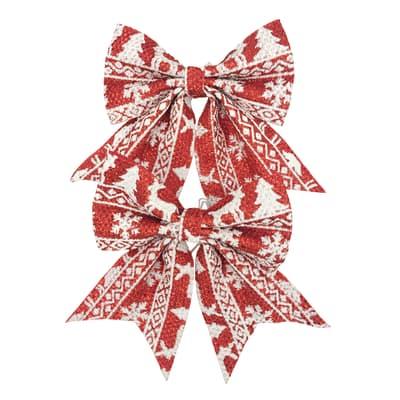 Fiocco Set 2 fiocchi in tessuto rosso con decori bianchi H 13 cm, L 13 cmx P 0.5 cm,  confezione da 2 pezzi