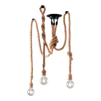 Lampadario Industriale Rope marrone in ferro, L. 10 cm, 3 luci, FAN EUROPE