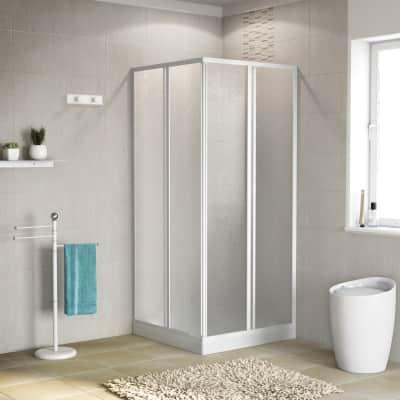 Box doccia quadrato 80 x 80 cm, H 184 cm in acrilico, spessore 1.5 mm brinato / trasparente bianco