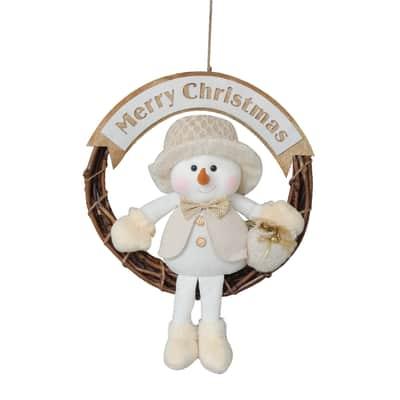 Fuoriporta Christmas Pupazzo di neve in tessuto H 45 cm, L 38 cm  x P 2 cm