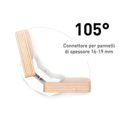 Sistema di assemblaggio playwood 105° pvc  4 pezzi , bianco