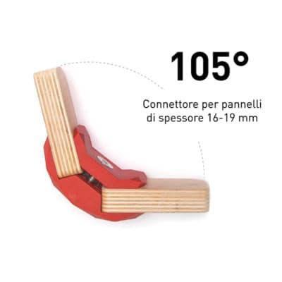 Sistema di assemblaggio playwood Playwood 105° pvc  4 pezzi , rosso