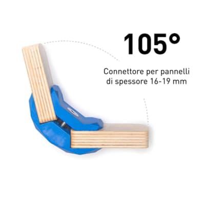 Sistema di assemblaggio playwood 105° pvc  4 pezzi , blu