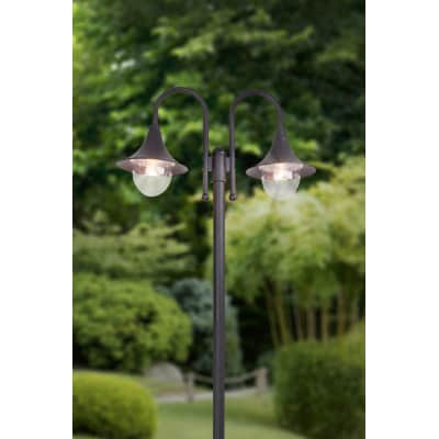 Impianto luminoso Berna H210cm in alluminio, nero, E27 2xMAX100W IP44 BRILLIANT