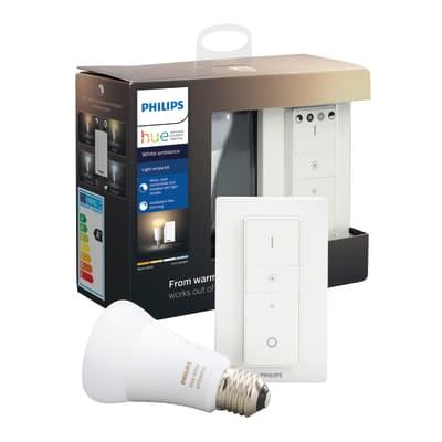 Lampadina smart lighting LED, HUE AMBIENCE BLUETOOTH + TELECOMANDO, E27, Goccia, Opaco, CCT, 8.5W=806LM (equiv 60 W), 150° , PHILIPS HUE