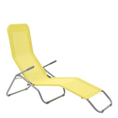 Lettino senza cuscino pieghevole Veia in acciaio giallo