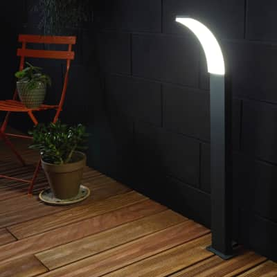 Lampioncino Lakko 56cm H56cm LED integrato in alluminio antracite 11W 1200LM IP44 INSPIRE