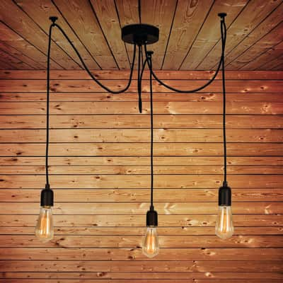 Lampadario Industriale Wire nero in metallo, L. 180 cm, 3 luci