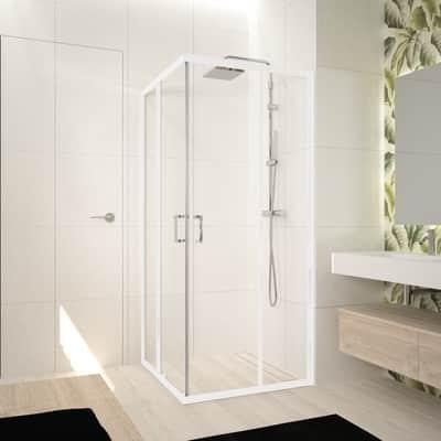 Box doccia rettangolare scorrevole Ocean 70 x 100 cm, H 195 cm in vetro temprato, spessore 5 mm trasparente bianco