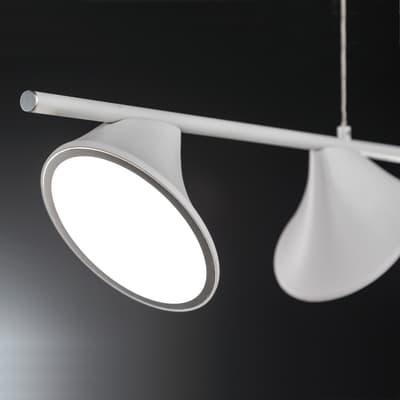 Lampadario Moderno CHARA LED integrato bianco, in metallo, L. 105 cm, 4 luci, WOFI
