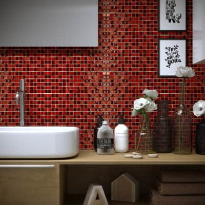 Mosaico Mix Red H 30 x L 30 cm rosso