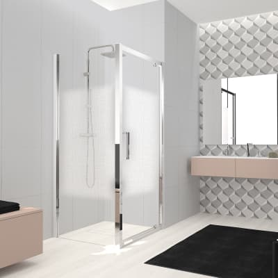 Box doccia angolare con porta a battente e lato fisso quadrato Lead 90 x 90 cm, H 200 cm in vetro temprato, spessore 8 mm serigrafato cromato