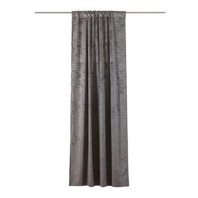 Tenda Velluto crushed grigio fettuccia con passanti nascosti 140 x 280 cm
