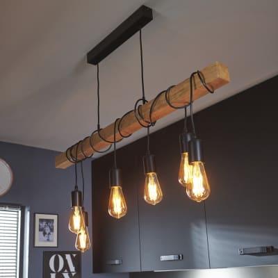 Lampadario Industriale Townshend marrone in metallo, L. 100.0 cm, 6 luci, EGLO