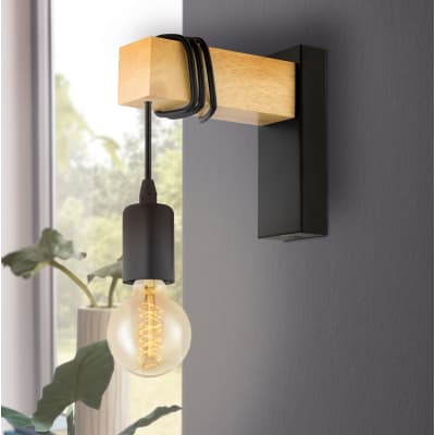 Applique industriale Townshend nero e marrone, in metallo, 6.5x18.5 cm, EGLO