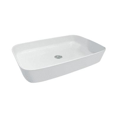 Lavabo da appoggio Rettangolare Quadro in ceramica L 65 x P 45 x H 13 cm bianco