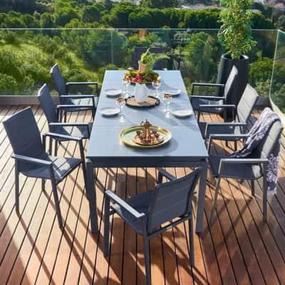 Set tavolo e sedie Odyssea in alluminio grigio / argento 8 posti