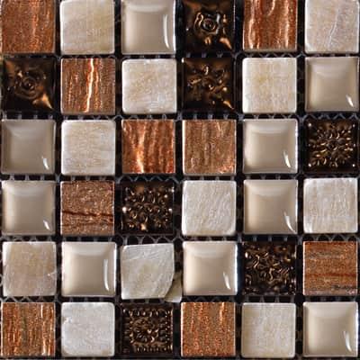 Mosaico Campione Freedom Almond H 5 x L 5 cm beige/rame