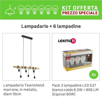 Lampadario Industriale KIT+2 PACK 3 LAMPADINE Townshend marrone, in metallo, 6 luci, EGLO