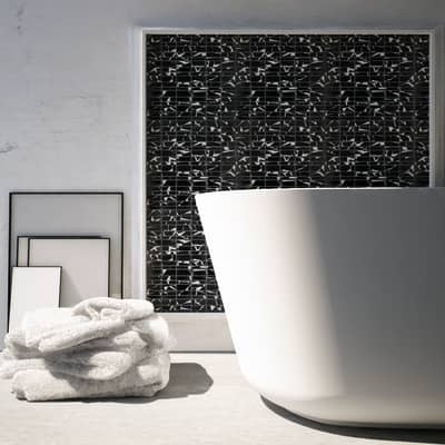 Mosaico H 29.8 x L 30.5 cm nero/bianco