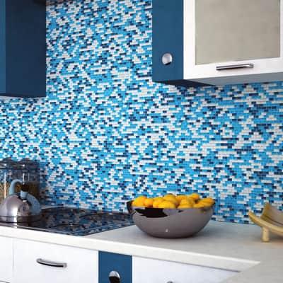 Mosaico H 28.5 x L 31 cm blu/azzurro argento