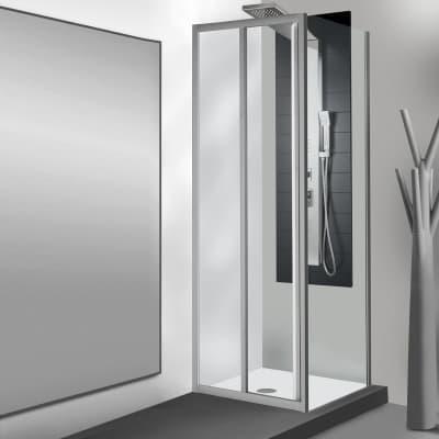 Porta doccia scorrevole Essential 110 cm, H 185 cm in vetro temprato, spessore 4 mm trasparente satinato
