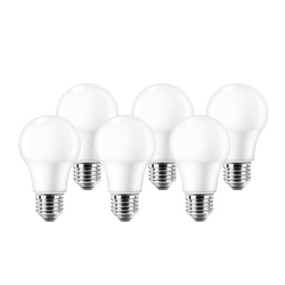 Set di 6  lampadine LED, E27, Goccia, Smerigliato, Luce naturale, 8.5W=806LM (equiv 60 W), 220° , LEXMAN