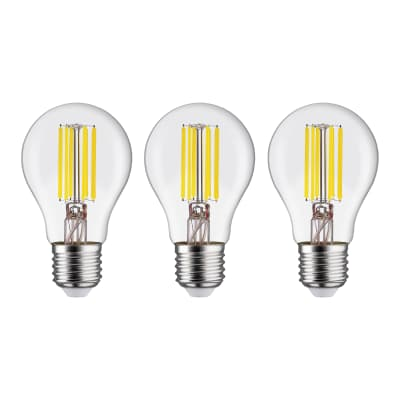 Set di 3  lampadine LED filamento, E27, Goccia, Trasparente, Luce naturale, 12W=1521LM (equiv 100 W), 360° , LEXMAN