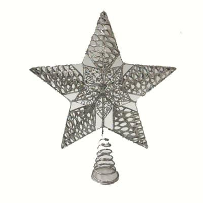 Puntale per albero di natale grigio / argentoin metallo