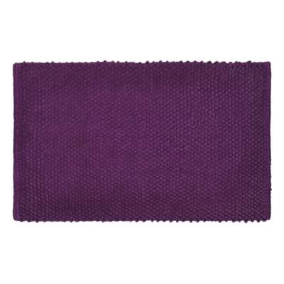 Tappeto bagno rettangolare Bubble in 100% cotone viola 80 x 50 cm