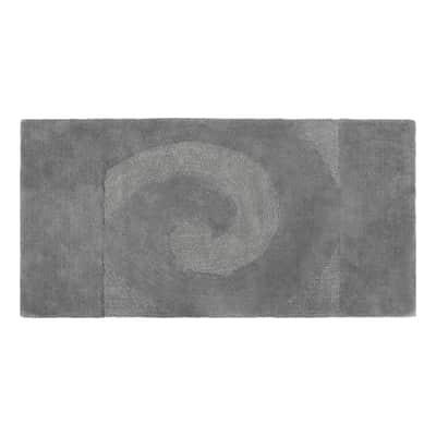Tappeto bagno rettangolare Elisabeth in cotone grigio 90 x 55 cm