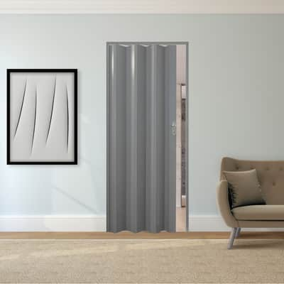 Porta a soffietto Luciana in pvc grigio / argento L 88.5 x H 214 cm
