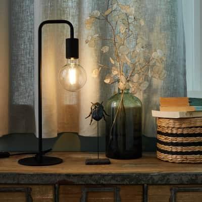 Lampada da tavolo Design Lana Nero in metallo, INSPIRE
