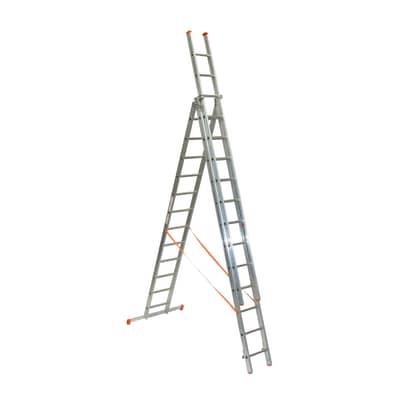 Scala a sfilo FACAL Genia 3 rampe in alluminio 3x12 gradini per lavori fino a 9.8 m