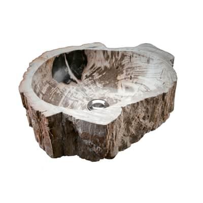 Lavabo da appoggio Triangolare Stone Tree in pietra L 40 x P 40 x H 15 cm marrone