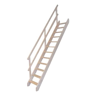 Scala a rampa dritto Mugnaio L 60 cm, gradino grezzo, struttura abete naturale