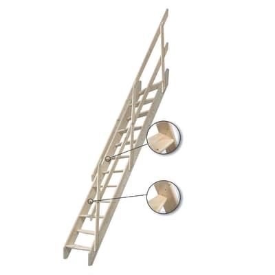 Scala a rampa dritto Oslo L 58 cm, gradino grezzo, struttura pino grezzo